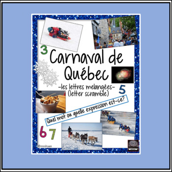 French – Carnaval de Québec – Quebec Winter Carnival – word scramble