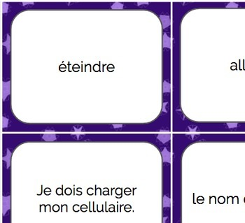 French Cell Phone Vocab & Poster