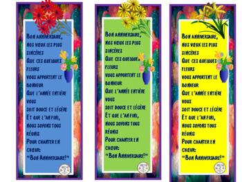 French: Bon Anniversaire  Chanson Bookmarks