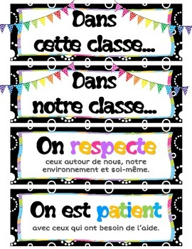 French Character Traits and Attributes Posters Word Wall
