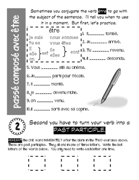 """French """"Cheat Sheet"""" explaining how to form the PASSE COMPOSE"""