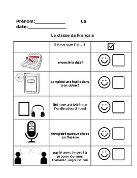 French Checklist for Special Education - Students with autism