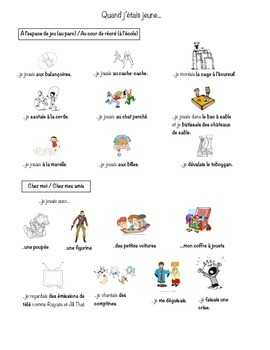 Childhood activities vocab (imperfect/imparfait) and class exercises - French
