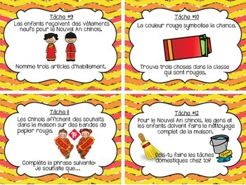 French Chinese New Year Task Cards Nouvel An chinois (Les cartes à tâches)