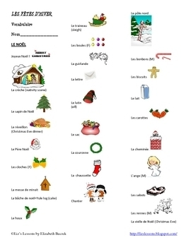 French Christmas, Hanukkah, and New Year Vocabulary and Activities