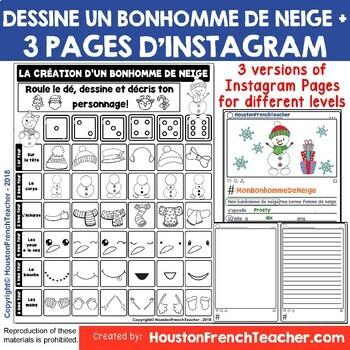 French Christmas Activity - Noel Activity- Dessine un bonhomme de neige