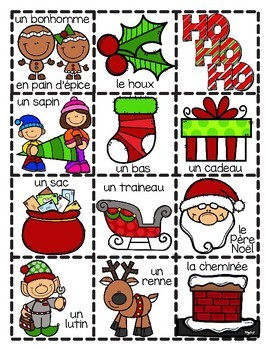 French Christmas BINGO Cards