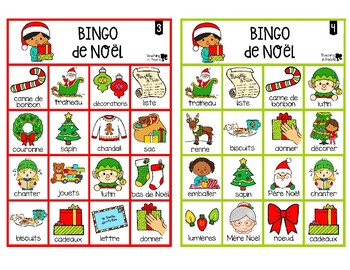French Christmas Bingo Game - Bingo de Noël - Colour