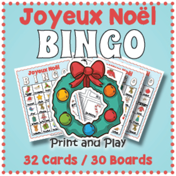 picture relating to Christmas Bingo Printable called French Xmas Sport - French Xmas BINGO Match