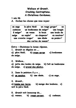 Noël French Teaching Resources. Christmas Cardomatic Wallace & Gromit worksheet.