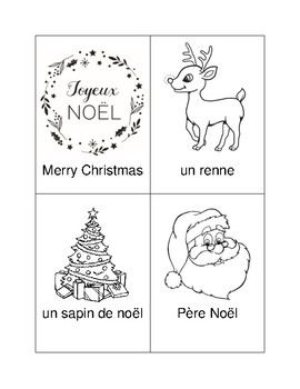 French Christmas Colouring Flash Cards