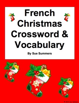 French Christmas Crossword Puzzle Worksheet and Vocabulary