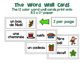 French Christmas Dominoes, Handout, Word Wall Cards, and More