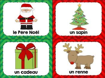 French Christmas Flashcards (editable) – Cartes images de Noël