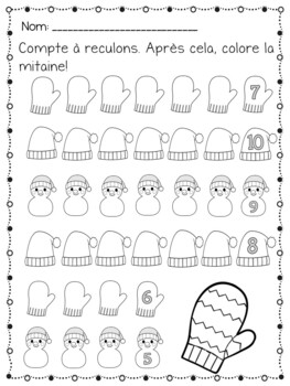 French Christmas Freebie, Counting backwards from 30 worksheets