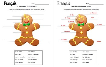 French Christmas Gingerbread Man and Body Parts - Noël