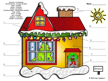 French Christmas House Exterior Labeling and Coloring Activity