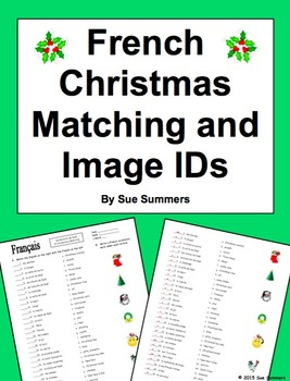 French Christmas Matching Quiz or Worksheet - 31 Words - Noël