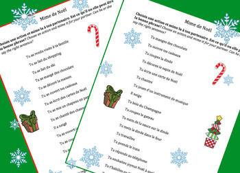 French Christmas Noel Oral work - Mime the action [EDITABLE]