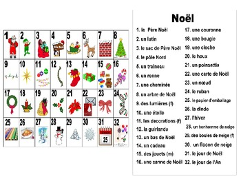 French Christmas-Noël Vocabulary Teaching Posters Powerpoint