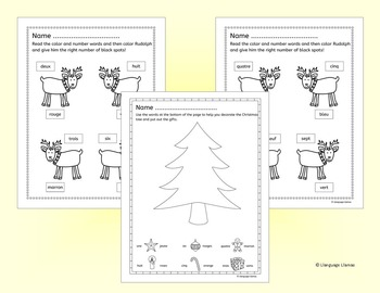 French Christmas  - Noel - Fun Numbers and Colors Activities