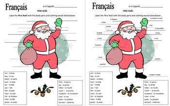 French Christmas Pere Noel With Body Parts and Clothing