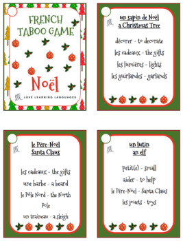 French Christmas Taboo Game - Noël