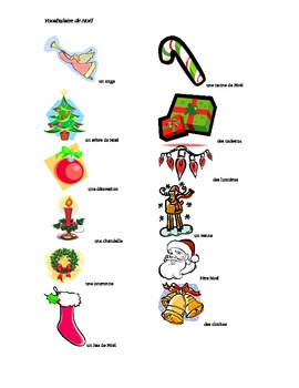 french christmas vocabulary by jill weatherhead tpt. Black Bedroom Furniture Sets. Home Design Ideas