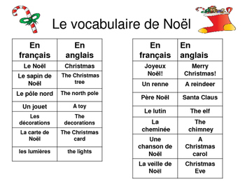 French Christmas Vocabulary, Bingo, Puzzles, Story/Cartoon Bundle!