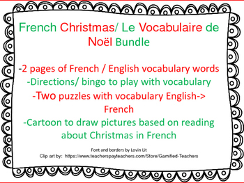 French Christmas Vocabulary, Bingo, Puzzles, Story/Cartoon
