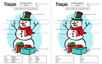 French Christmas / Winter Label the Snowman with Body Parts and Clothing