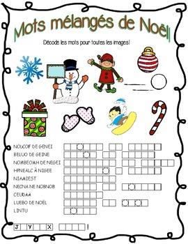 French Christmas Word Scramble! No Prep!