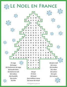 French Christmas  Vocabulary Word Search: Noël