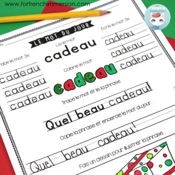 French Christmas Worksheets | LE MOT DU JOUR | Noël français GRATUIT