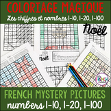 French Christmas colour by number Coloriage Magique Noël 1-10, 1-20, 1-100