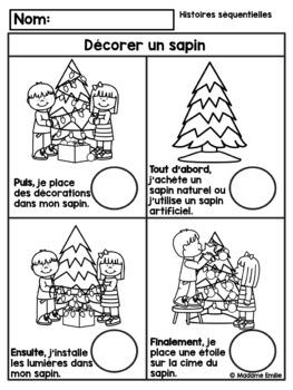 French Christmas tree Sequencing/ Histoires séquentielles -Décorer un sapin Noël
