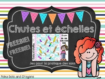 French Chutes and Ladders (Chutes et échelles) game Phonics Edition FREEBIE