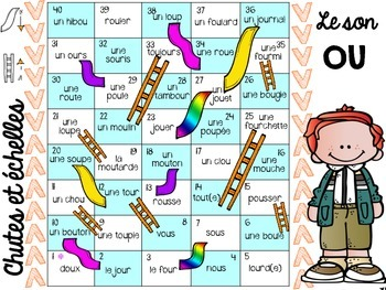 French Chutes and ladders game Phonics Edition (Chutes et échelles)
