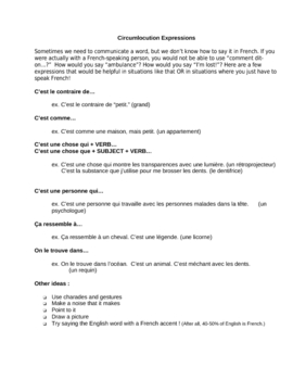 French Circumlocution Handout