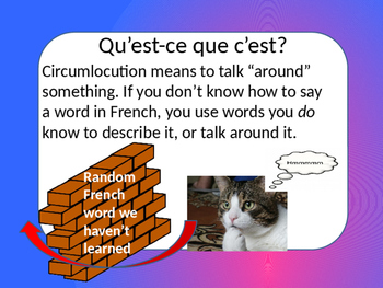 French Circumlocution Introduction and Lesson--EDITABLE