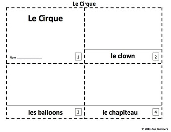 French Circus 2 Emergent Reader Booklets Le Cirque