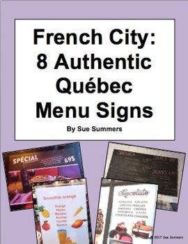 French City 8 Authentic Québec City Menu Signs
