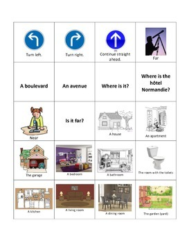 French City, House, and Directions Flash Cards