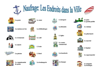 French City Locations Vocabulary Speaking/Writing  Activity (Naufrage)