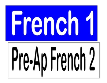 French Class Activity and Objectives Labels for White Board or Bulletin Board