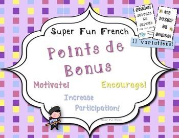 French Class Bonus Points - Printable - student reward / motivator