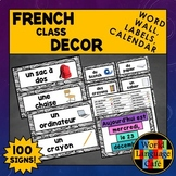 French Classroom Labels, French Classroom Decor, Word Wall, French Calendar