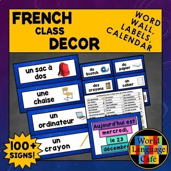 French Classroom Objects Labels, Word Wall, French Decor, Decorations, Calendar