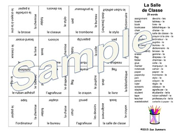 French Class Objects 4 x 4 Matching Squares Puzzle