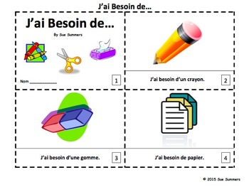 French Class Objects Booklet and Presentation - J'ai Besoin de...